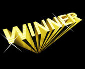 Winner Text In Gold And 3d As Symbol For Success And Victory — Stock Photo