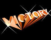 Victory Text In Orange And 3d As Symbol For Winning And Accompli — Stockfoto