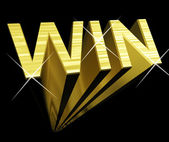 Win Text In Gold And 3d As Symbol For Success And Victory — Stock Photo