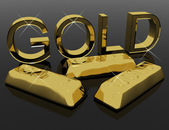 Gold Letters And Bars As Symbol For Wealth Or Riches — Stock Photo