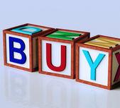 Blocchi ortografia acquistare come simbolo per il commercio e l'acquisto — Foto Stock