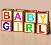Kids Blocks Spelling Baby Girl As Symbol for Babies And Childhoo — Stock Photo