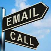 Email Or Call Directions On A Signpost — Stock Photo