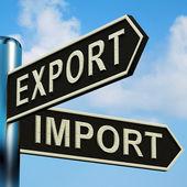Exportar o importar direcciones en un cartel — Foto de Stock