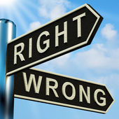 Right Or Wrong Directions On A Signpost — Stock Photo