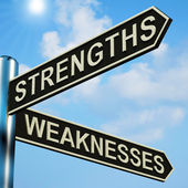 Strengths Or Weaknesses Directions On A Signpost — Stock Photo