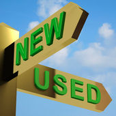 New Or Used Directions On A Signpost — Stock Photo