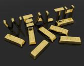 Sembol servet ve sermaye servet metin ve altın barlar — Stok fotoğraf