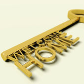 Key With Welcome Home Text As Symbol For Property And Ownership — Stock Photo