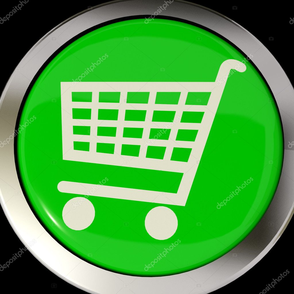 Shopping Cart Icon Or Green Button As Symbol For Checkout Or Online Shopping — Stock Photo #8065753