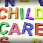 Kinderopvang in kinderen letters geschreven — Stockfoto