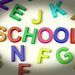 School Written In Plastic Kids Letters — Stock Photo