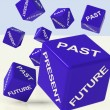 Stock Photo: Past Present Future Dice Showing Evolution And Destiny