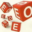 Seo Dice Representing Internet Optimization And Development — Stock Photo #8136273