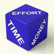 Effort Time Money Dice Representing The Ingredients For Business — Stock Photo #8136307