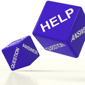 Question Answer And Help Dice As Symbol For Support — Stock Photo