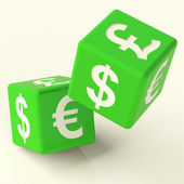 Currency Signs On Dice As A Symbol Of Foreign Exchange — Stock Photo