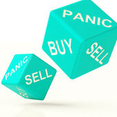 Buy Panic And Sell Dice Representing Market Turmoil — Stock Photo