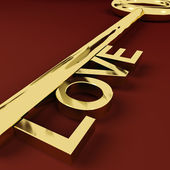 Love Key Representing Adoration And Romance — Stock Photo