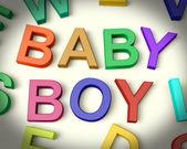 Baby Boy Written In Kids Letters — Stock Photo