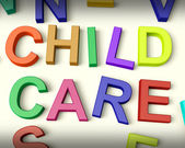 Child Care Written In Kids Letters — Stock Photo