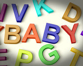 Baby Written In Kids Letters Representing Newborn — Stock Photo
