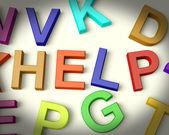 Help Written In Plastic Kids Letters — Foto de Stock