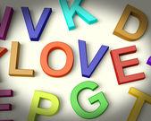 Love Written In Plastic Kids Letters — Stock Photo