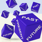 Past Present Future Dice Showing Evolution And Destiny — Stock Photo