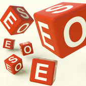 Seo Dice Representing Internet Optimization And Development — Stock Photo