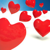 Falling Hearts Representing Love And Adoration — Stock Photo