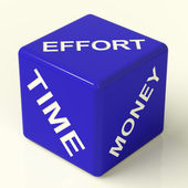 Effort Time Money Dice Representing The Ingredients For Business — Stock Photo