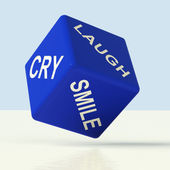 Laugh Cry Smile Dice Representing Different Emotions — Stock Photo