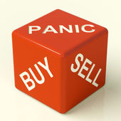 Buy Panic And Sell Dice Representing Market Stress — Stock Photo