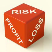Profit Loss And Risks Dice Showing Market Uncertainty — Stock Photo