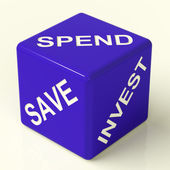 Save Spend Invest Dice Showing Financial Choices — Stock Photo