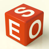 Seo Dice Representing Internet Optimization And Promotion — Stock Photo