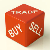 Buy Trade And Sell Dice Representing Business And Organization — Stock Photo