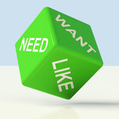 Need Want Like Dice Showing Craving And Desire — Stock Photo