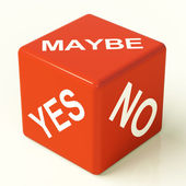 Maybe Yes No Dice Representing Uncertainty And Decisions — Stock Photo