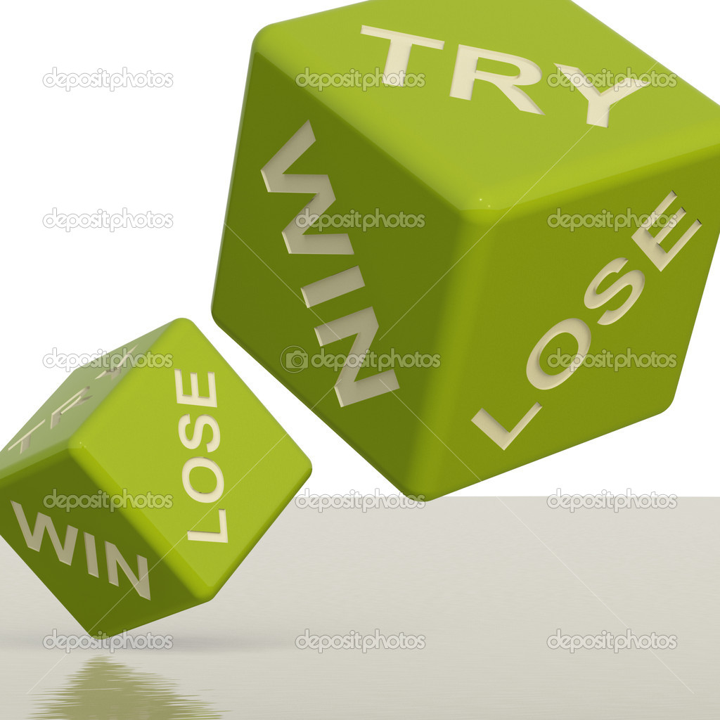 Try Win Lose Green Dice Showing Gambling And Chance — Stock Photo #8136050