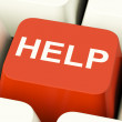 Royalty-Free Stock Photo: Help Computer Button Showing Assistance Support And Answers
