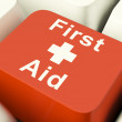 First Aid Computer Key Showing Emergency Medical Help — Stock Photo