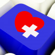 Heart And Cross Computer Key In Blue Showing Emergency Assistanc — Stock Photo