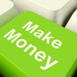 Make Money Computer Key In Green Showing Startup Business And We — Stock Photo #8507033