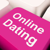Online Dating Computer Key Showing Romance And Web Love — Stock Photo