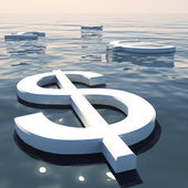 Dollar Floating And Currencies Going Away Showing Money Exchange — Stock Photo