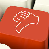 Thumbs Down Icon Computer Key Showing Dislike Failure And False — Stock Photo