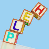Help Blocks Showing Assistance Support And Answers — Stock Photo