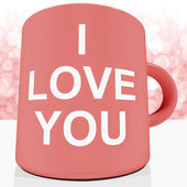 I Love You Mug With Bokeh Background Showing Romance And Valenti — Stock Photo